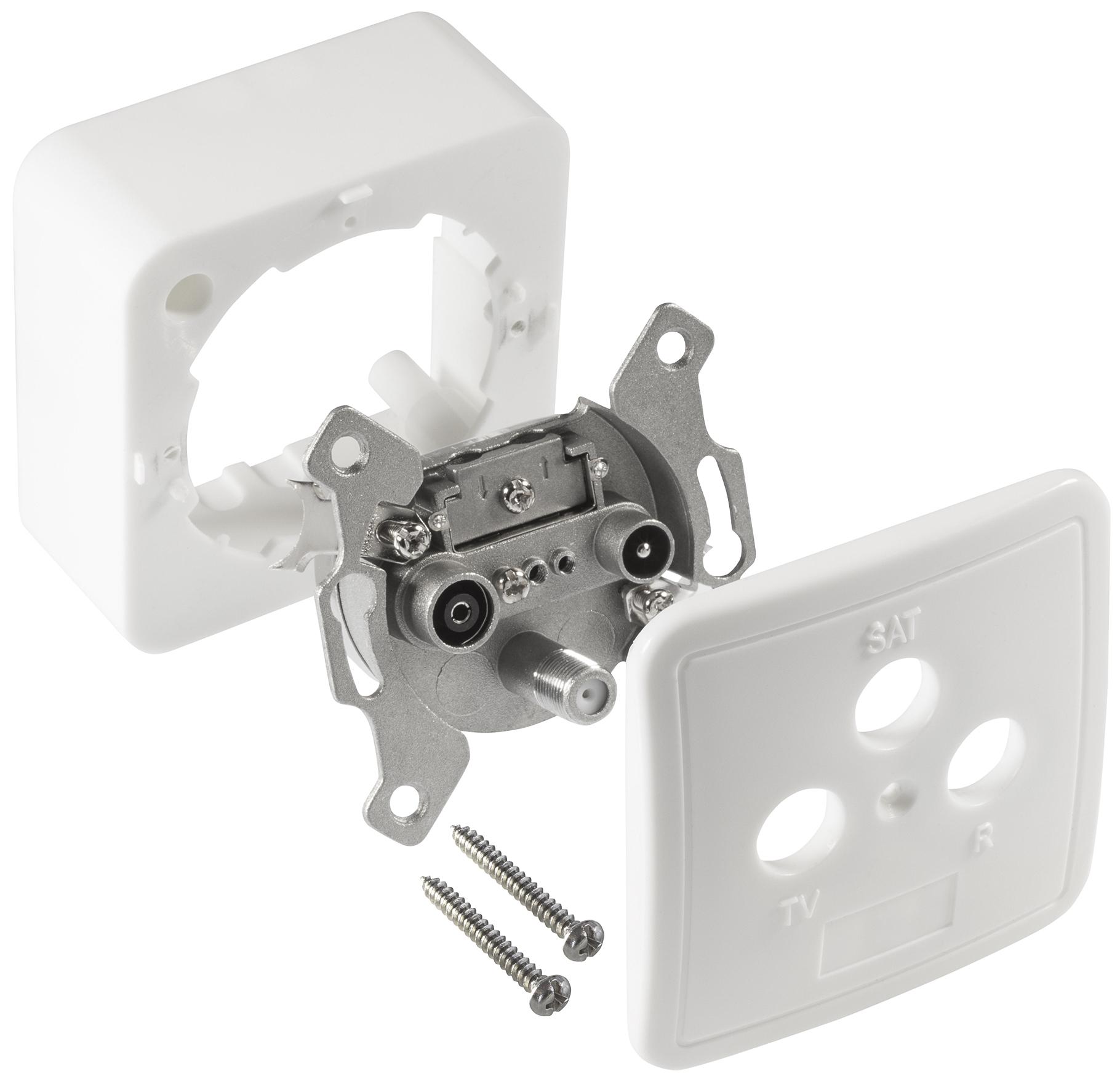 poppstar 3x 3 loch antennendose enddose sat und kabel anschluss digital analog ebay. Black Bedroom Furniture Sets. Home Design Ideas